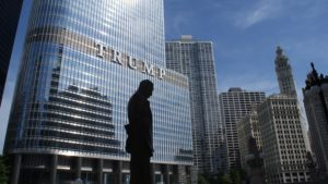 Silhouette in front of Trump Tower.